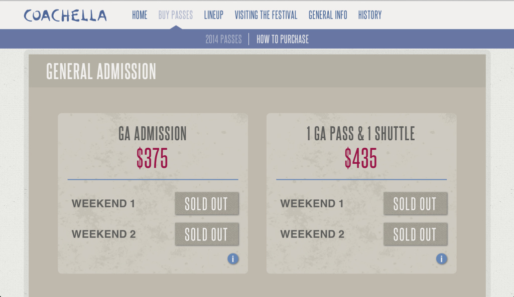 A screenshot of Coachella.com's purchase page.