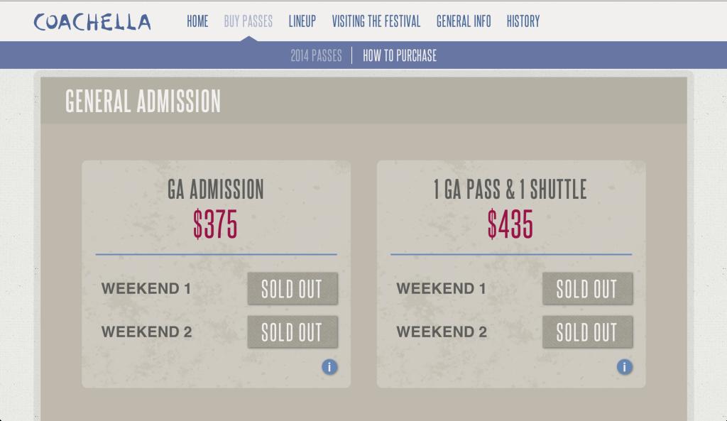 A screenshot of Coachella.com's purchase page.