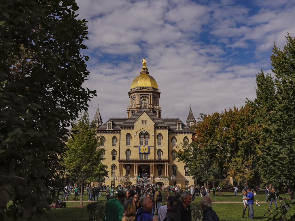 The University of Notre Dame, pictured in Sept. 2018, is one of two universities announcing a step back from in-person learning on Tuesday. It is going remote for two weeks, while Michigan State University will be online-only for the fall semester.