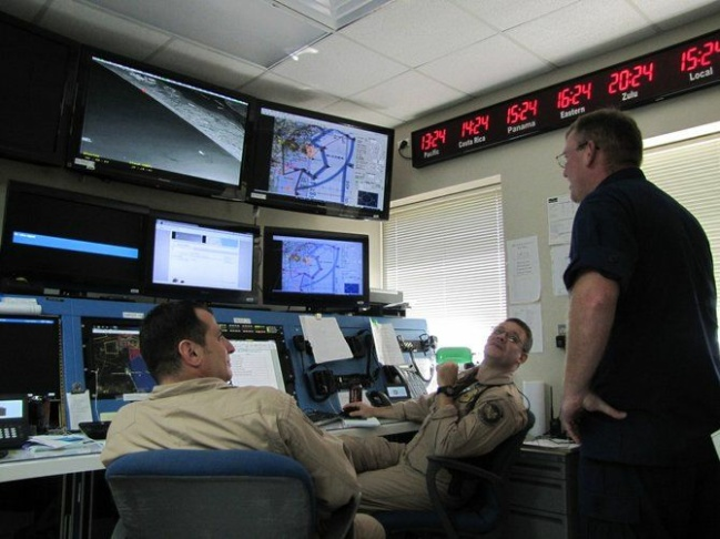 Drone agents during a recent live mission at the operations center in Corpus Christi, Texas.