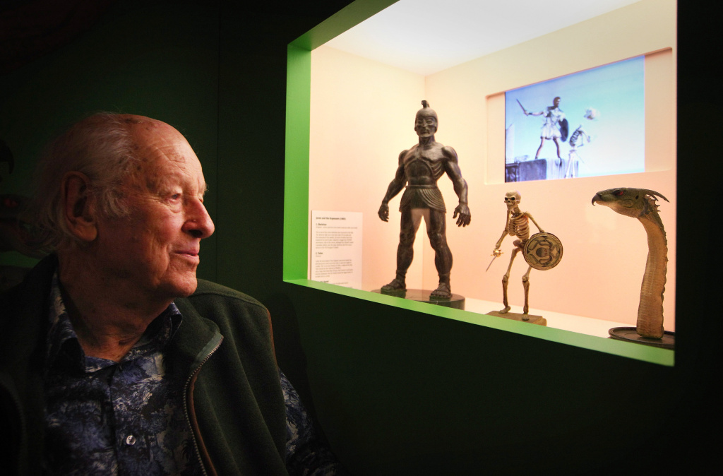 Special effects creator Ray Harryhausen looks at his original models from his 1963  film 'Jason And The Argonauts' at the The Myths And Legends Exhibition at The London Film Museum on June 29, 2010 in London, England.