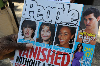 A copy of People Magazine containing a story about missing Los Angeles girl Mitrice Richardson after her family filed a claim as a prelude to a possible lawsuit against the Los Angeles County in Los Angeles on March 16, 2010.
