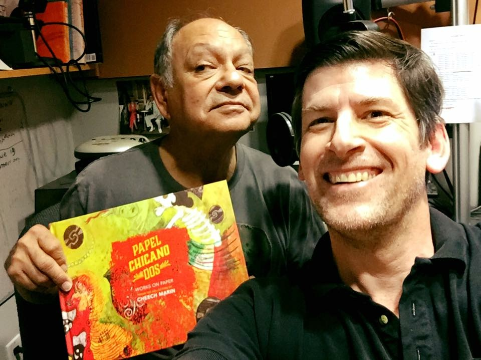 Chicano art hero Cheech Marin and Off-Ramp host John Rabe in the Off-Ramp Pavilion at KPCC, for Cheech's latest book,