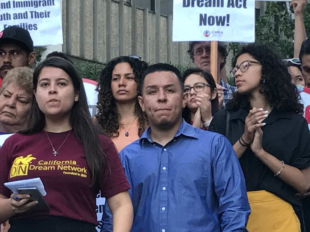 Ivan Ceja, 25 of Compton, became a DACA beneficiary in 2012, and is preparing himself for a life without authorization again. He attended a rally in support of DACA in downtown Los Angeles on Sept. 5, 2017.