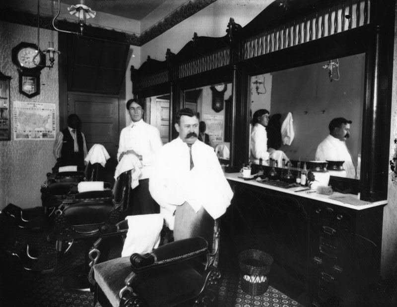 Undated photo of a Los Angeles barbershop.