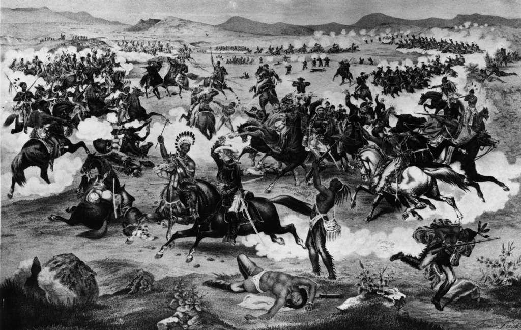 June 25, 1876:  General Custer and Crazy Horse (center) during the battle of the Little Big Horn between the U.S. Army and Sioux Native Americans commanded by chief Crazy Horse. Custer had underestimated the size of the encampment and all his column were killed. Original Artwork: Painting by Feodor Fuchs Entitled Custer's Last Charge