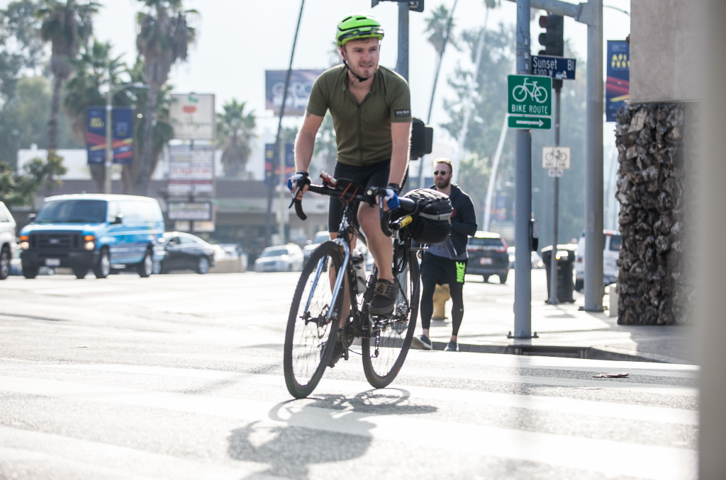 Topher Hendricks has had many close calls at the intersection of Sunset Blvd. and Fountain Ave. on his 10-mile commute.