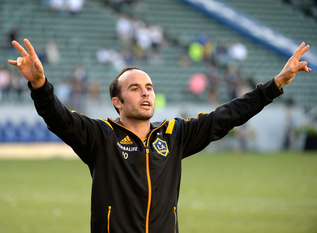 File photo: Landon Donovan #10 of Los Angeles Galaxy reacts to his supporters after a 4-1 win over the Philadelphia Union at StubHub Center on May 25, 2014 in Los Angeles, California.