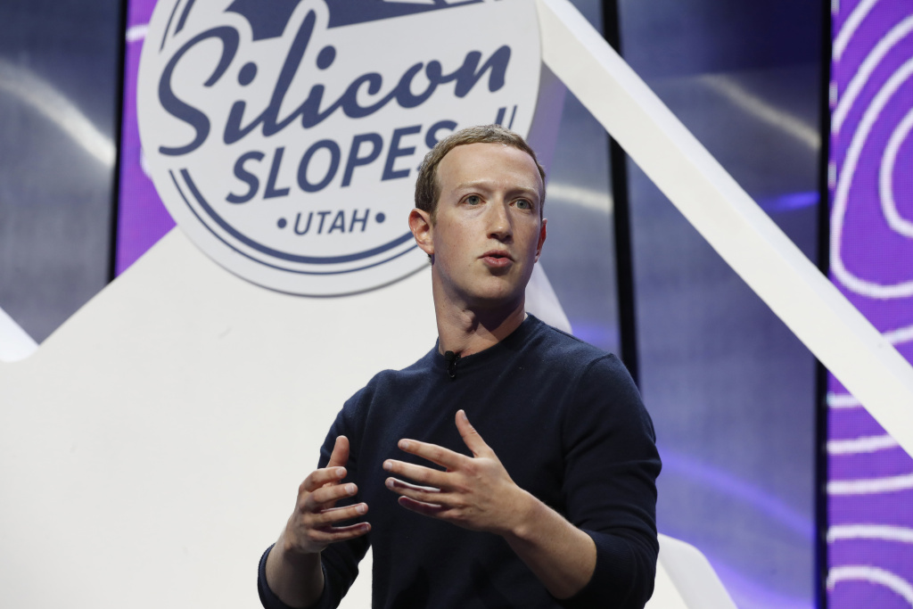 Mark Zuckerberg, chief executive officer and founder of Facebook Inc., speaks during the Silicon Slopes Tech Summit in Salt Lake City, Utah, U.S., on Friday, Jan. 31, 2020.