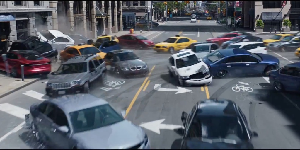 A classic car mayhem scene from the latest in the Fast and Furious franchise, The Fate of the Furious