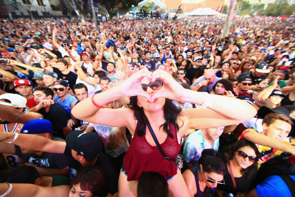Music fans at the Made in America Festival at Los Angeles Grand Park on August 30, 2014 in Los Angeles, California.