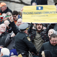 Opponents of fracking protested in January at the inauguration of Pennsylvania Gov. Tom Wolf.