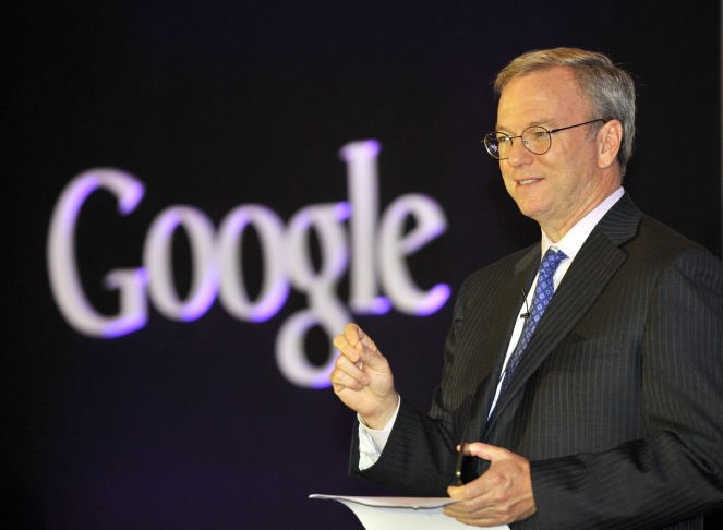 Google chief executive Eric Schmidt speaks during a news conference to launch its new tablet PC, Nexus 7, in Seoul.