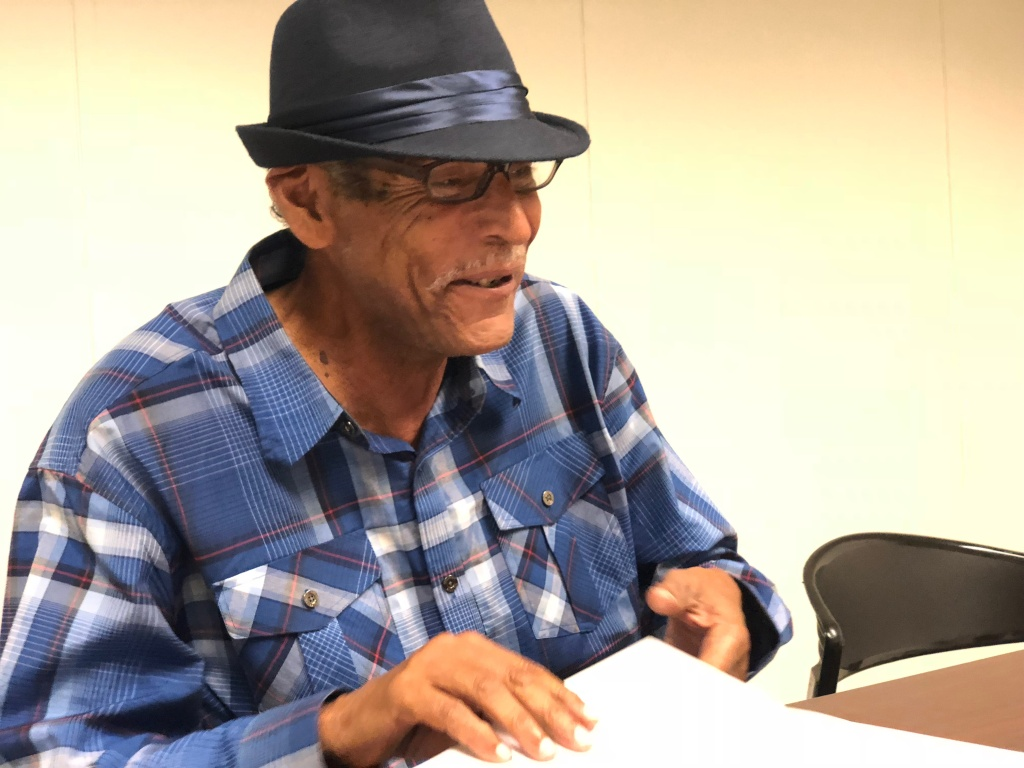 Terry Williams, at the Inner City Law Center offices in Los Angeles on August 7, 2018. Williams, 71, lives in South Central LA with his wife, and says his stomach dropped when he first got an eviction notice in July. More than 50,000 households received eviction notices last year in Los Angeles County.