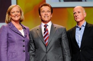 California Gov. Arnold Schwarzenegger joins California Republican gubernatorial candidate and former eBay CEO Meg Whitman and California Attorney General and Democratic gubernatorial candidate Jerry Brown during a discussion in Long Beach, California.
