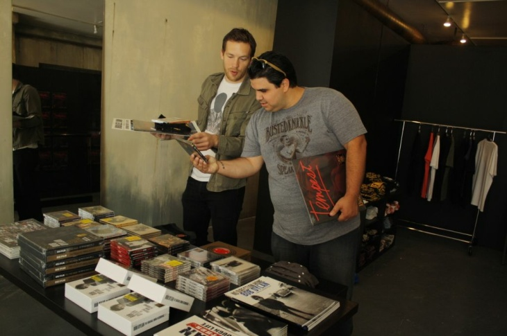 Friends Joel Rogers(L) and Danny Amaral(R) purchase the new release