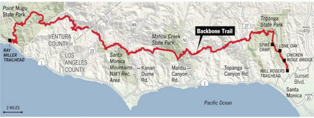 The newly completed 67-mile Backbone Trail.