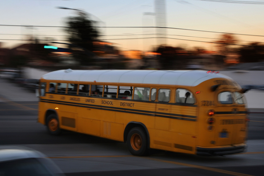 A school bus drives by on Oct. 8, 2008 in Los Angeles.