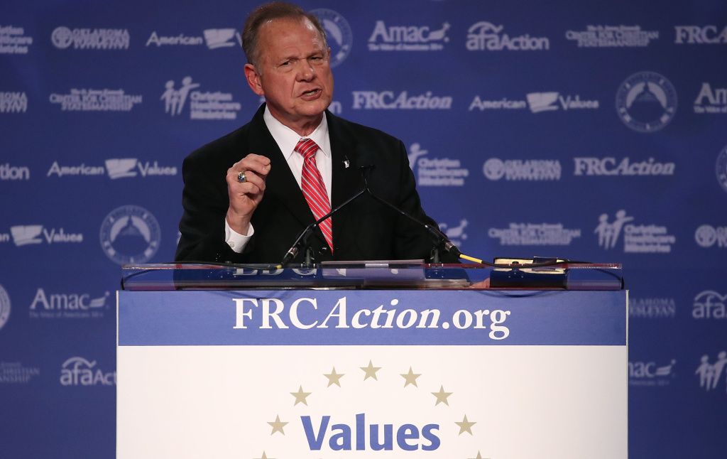 Roy Moore, GOP Senate candidate and former Alabama chief justice, speaks during the annual Family Research Council's Values Voter Summit in Washington, D.C., on Oct. 13.