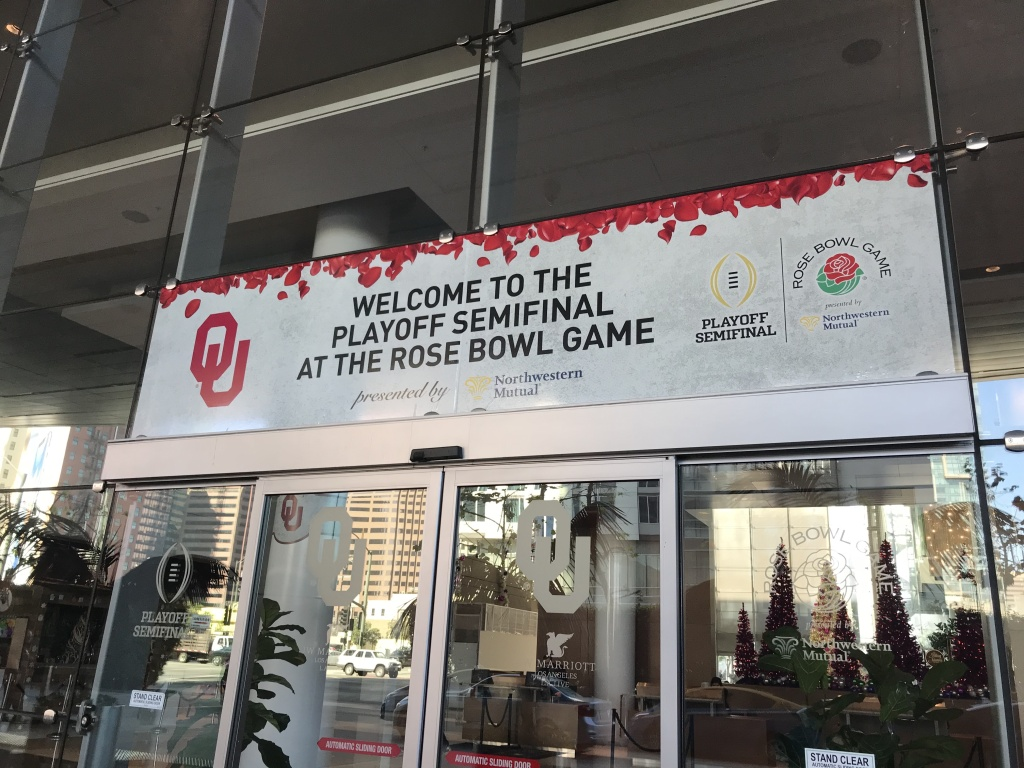The banner welcome the University of Oklahoma football team to their team hotel in Downtown Los Angeles