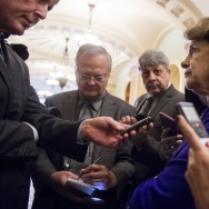 Senate Intelligence Chairwoman Dianne Feinstein (C), a Democrat from California, speaks to reporters about the committee's report on CIA interrogations at the US Capitol in Washington, DC, December 9, 2014.
