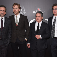 (L-R) Actor Steve Carrell, actor Ryan Gosling, Chairman and CEO of Paramount Pictures Brad Grey and actor Brad Pitt.