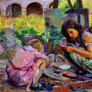 Joseph Kleitsch, Curiosity (Mission San Juan Capistrano), 1924. Oil on canvas, 25 x 30 inches. Collection Mr. and Mrs. Thomas B. Stiles II