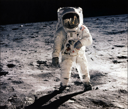 Picture taken on July 20, 1969 shows astronaut Edwin E. Aldrin Jr., lunar module pilot, walking on the surface of the moon during the Apollo 11 extravehicular activity (EVA). Astronaut Neil A. Armstrong took this photograph with a 70mm lunar surface camera.