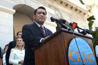 State Sen. Gil Cedillo, D-Los Angeles, calls on lawmakers to approve his proposed resolution calling on California to begin an economic boycott of Arizona over its controversial immigration law, at the Capitol in Sacramento, Calif., Wednesday, June 23, 2010.