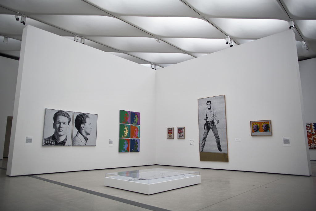 Works by Andy Warhol are on view on the third floor as part of the inaugural installation at The Broad. The installation includes works by Roy Lichtenstein, Ed Ruscha and Cindy Sherman, among others.