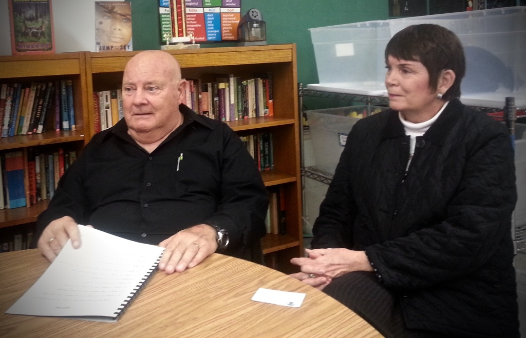 Jerry and Jo Ann Pyne listen to support group members at the twice-monthly meeting they lead at St. Irenaeus Catholic Church in Cypress for relatives of people with mental health problems.