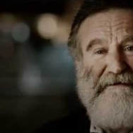 "Robin Williams and his daughter Zelda in a ""Legend of Zelda"" commercial."