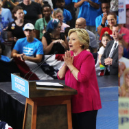 (L) Democratic presidential candidate Hillary Clinton speaks during a rally a day after accepting the Democratic Party's nomination for president at Temple University on July 29, 2016 in Philadelphia, Pennsylvania. (R) Republican presidential candidate Donald Trump addresses the audience during a campaign event at Trask Coliseum on August 9, 2016 in Wilmington, North Carolina.