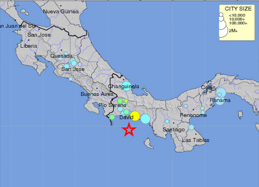 A map of a 5.8-magnitude earthquake that struck Panama Wednesday.