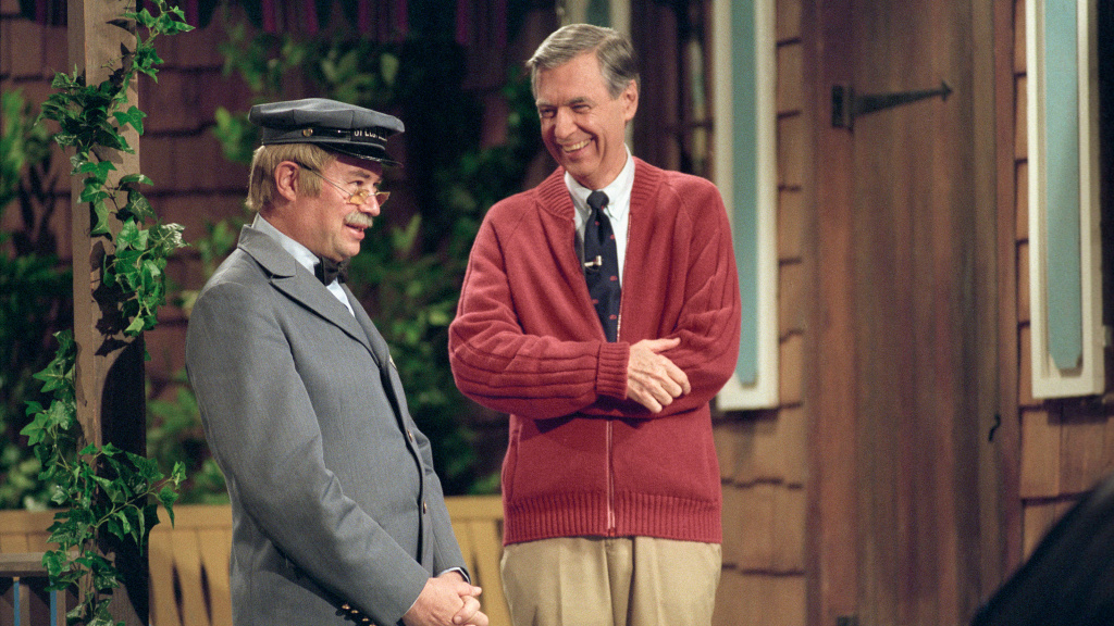 Mr. McFeely (David Newell) and Fred Rogers on set, in the documentary <em>Won't You Be My Neighbor?</em>