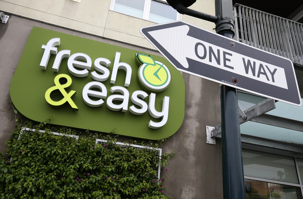 File: A sign is posted outside of a Fresh & Easy grocery store on Dec. 5, 2012 in San Francisco.