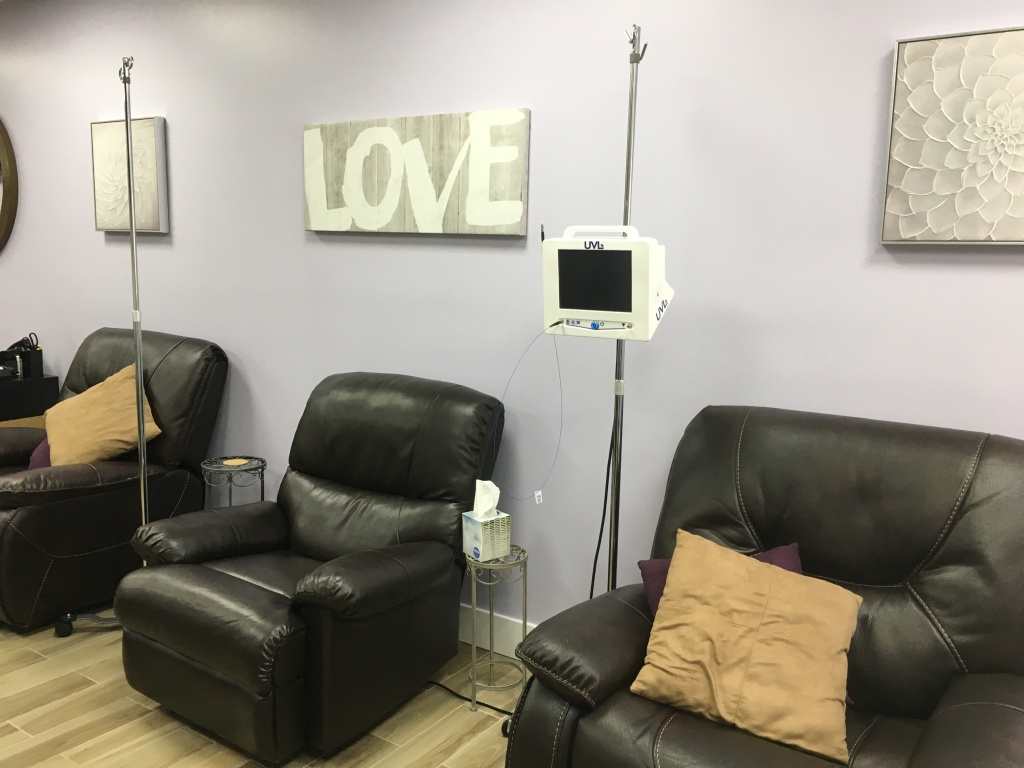 At Dr. Yoshi Rahm's office in Montrose, people relax in comfortable chairs as a solution of saline and 3 percent hydrogen peroxide is infused into their bloodstream through an IV.