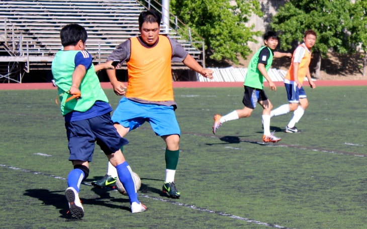 Every weekend, Korean soccer players get together for a match. This one was played at La Cañada High School.