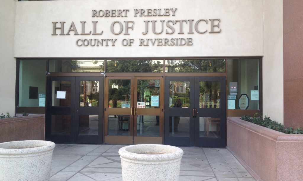 Criminal court cases are heard at the Riverside Hall of Justice located in Riverside, CA.
