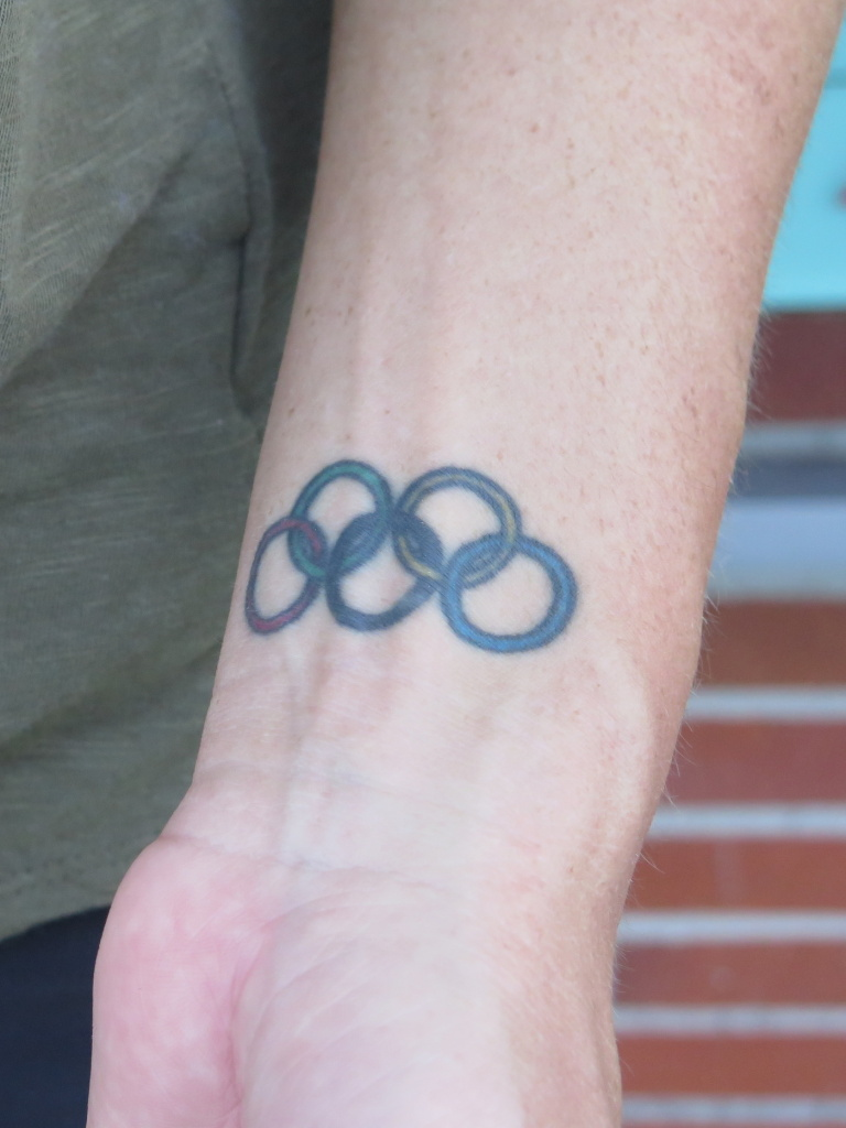 Anderson has the Olympic rings tattoed on her left wrist.