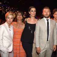"(L-R) Producer Sophie Watts, Rebecca Yeldham, actress Rebecca Hall. actor/director Joel Edgerton, Jason Bateman and  Chairman and CEO of movie studio STX Entertainment. Robert Simonds attend STX Entertainment's ""The Gift"" Los Angeles Premiere  on July 30, 2015 in Los Angeles, California."