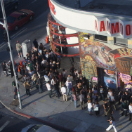 People wait in line to see Paul McCartney in a free concert, 27 June 2007 outside the Amoeba record store where the former Beatle will be performing.