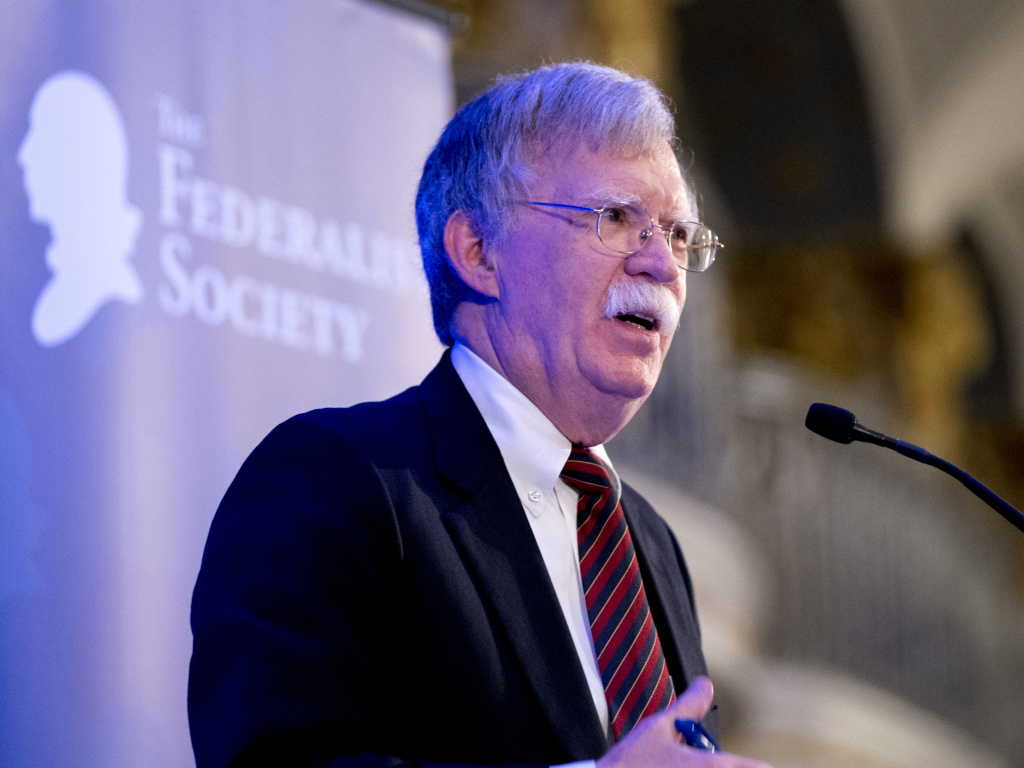National Security Adviser John Bolton speaks at a Federalist Society luncheon at the Mayflower Hotel on Sept. 10 in Washington.
