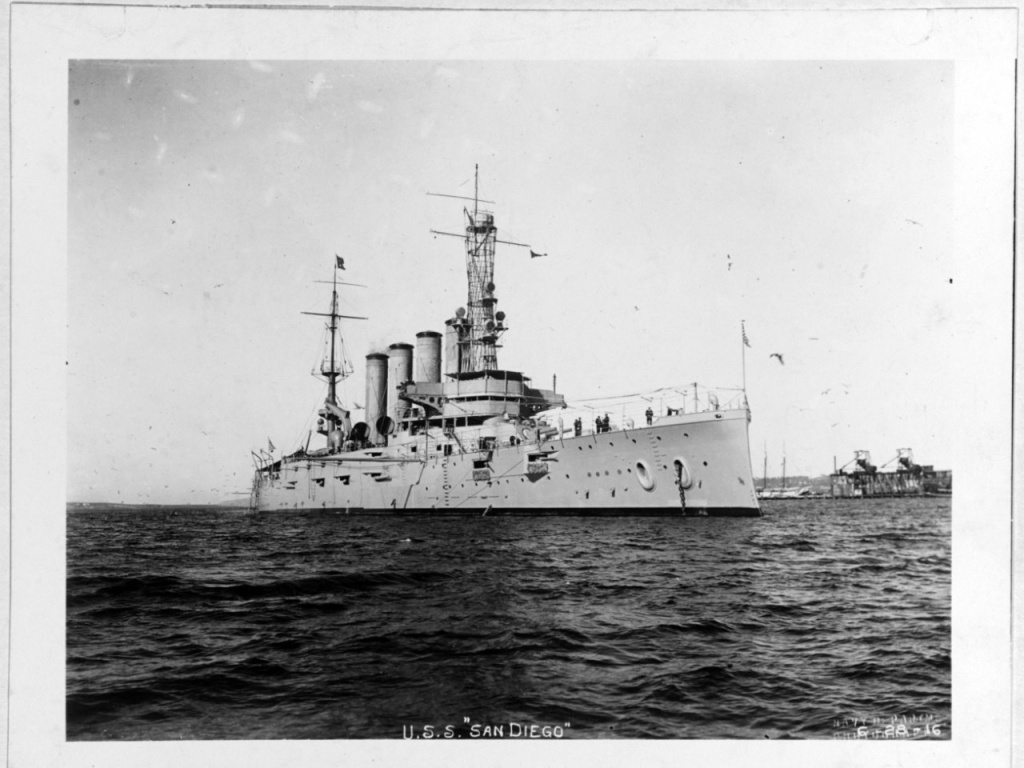 The USS San Diego — seen here on Jan. 28, 1915, while serving as flagship of the Pacific Fleet — was sunk 100 years ago off the coast of Long Island, N.Y.