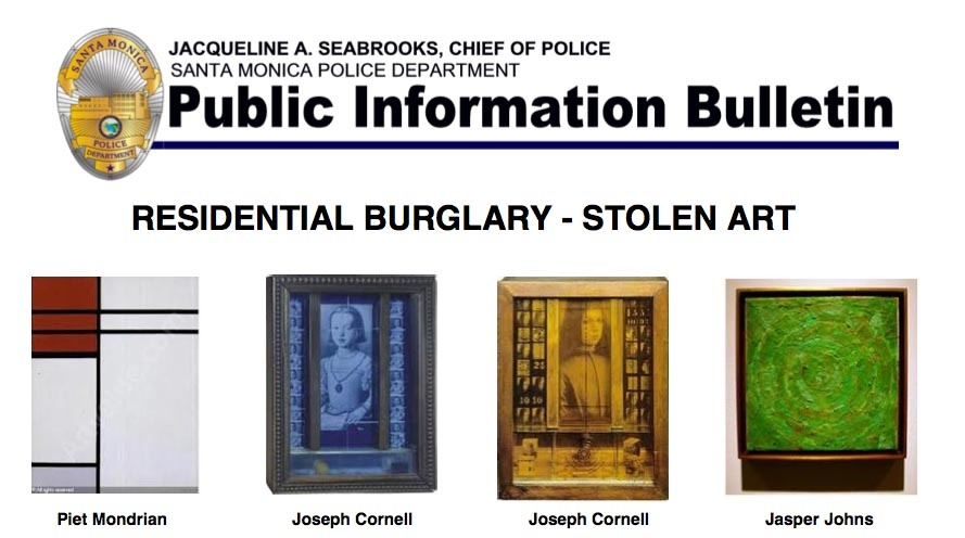 Paintings by Piet Mondrian, Joseph Cornell and Jasper Johns are some of the items police say were stolen from a Santa Monica home last week. Detective work recovered the art at a car stereo shop, but a stolen luxury car and other items are still missing.