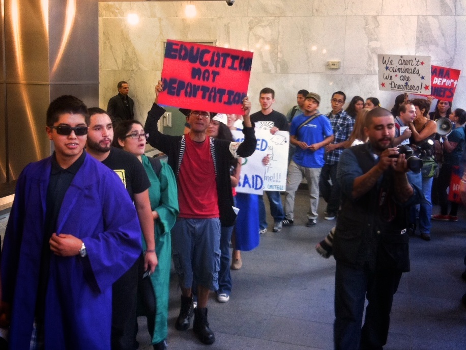 Earlier this year protesters marched in the lobby of the Immigration Court building. That court in Los Angeles has ordered far fewer deportations than in previous years.