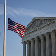 An American flag flies at half mast following the death of Supreme Court Justice Antonin Scalia at the U.S. Supreme Court, February 14, 2016 in Washington, DC.