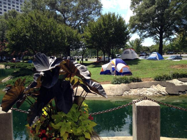 Occupy Charlotte protester Brett Morse near the 2012 Democratic National Convention.