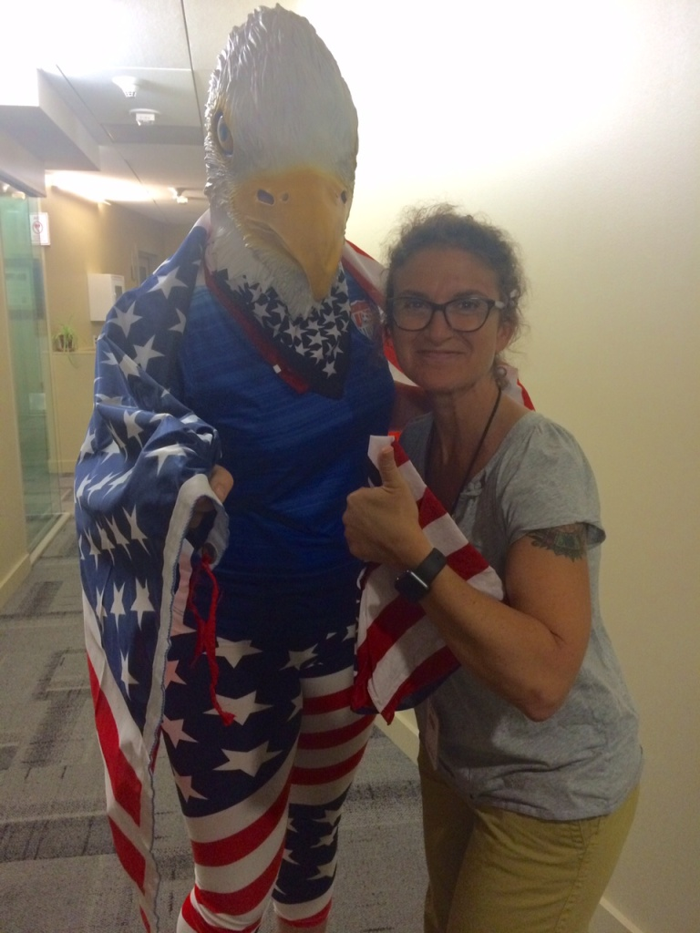 Kelly Farrell, aka 'The Sheagle,' poses with Take Two host Alex Cohen on Wednesday, July 15, 2015.