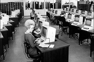 Before Karen Fritsche developed the Schlepometer, it took a roomful of women like this (photographed in a secret underground office at the Hahn Hall of Administration) ten days to find Angelenos their ideal mates.
